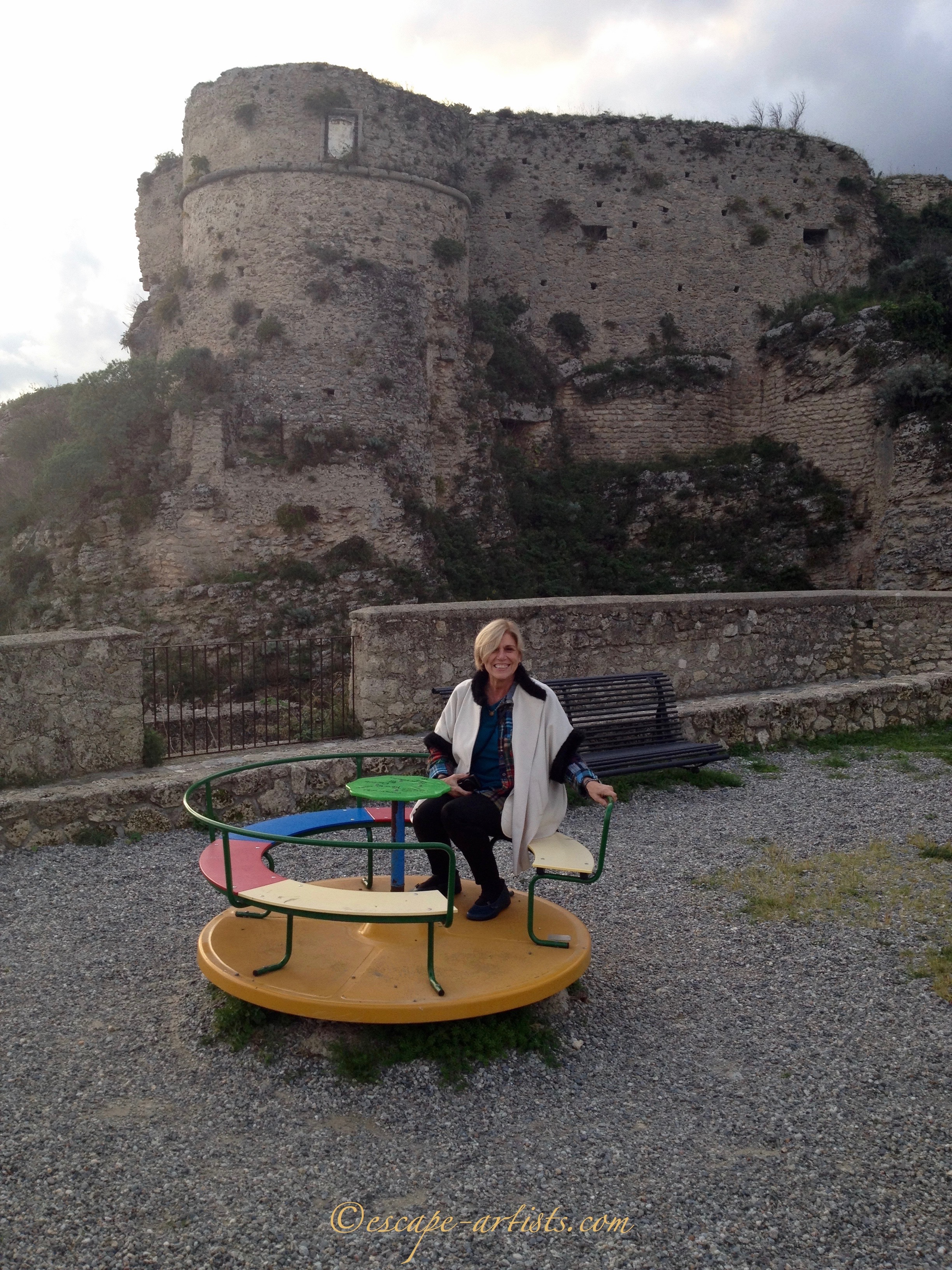 This little Escape Artist playing in her ancestral town of Gerace